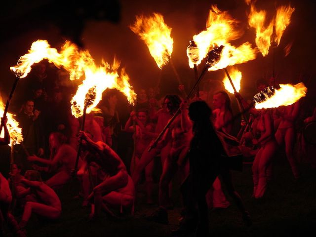 Red Men at Beltane Fire Festival (source: wikipedia)